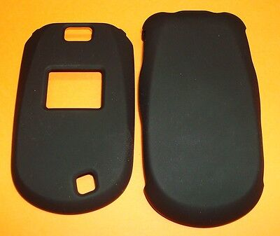 Solid BLACK Colored Rubberized Hard Snap-on Case Cover for LG Revere 2 VN150