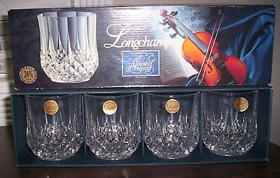 CRYSTAL D'ARQUES Longchamp Set of 4 Crystal Double Old Fashioned New In Box