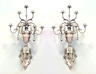 Pair of French Victorian Gilt Trimmed Carved 7 Arm Wall Sconces