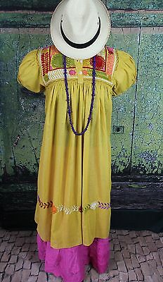 Gold & Multi-Color Dress Hand Embroidered Mayan Chiapas Mexico Hippie Santa Fe