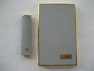 Vintage Colibri Gray, Gold Cigarette Case With Matching Lighter