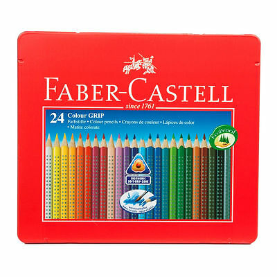 Faber-Castell Assorted Colour Grip Colouring Pencils Water-Soluble Pack Of 24