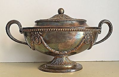 Antique Neoclassical Sheffield Sauce Tureen Sliver Plate Ribbon Bows Footed