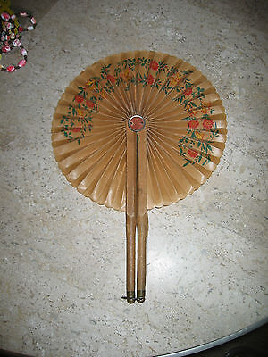 Antique Late180Os Victorian Ladies Handpainted Floral Pleated Folding Fabric Fan