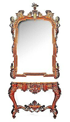 Pair of Italian Rococo Style Rosewood Mirrors