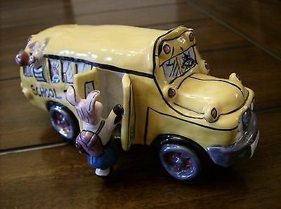 Clayworks By Heather Goldminc Rare 2001 Pottery Pigs In School Bus