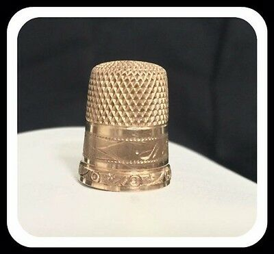 SOLID GOLD ANTIQUE GOLD THIMBLE 14K GOLD THIMBLE Size 7 EDWARDIAN SEWING THIMBLE