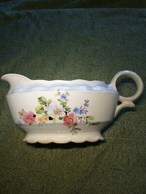 Taylor Smith 8365 Floral Gravy Boat  pink White Blue Roses Vintage Beautiful USA