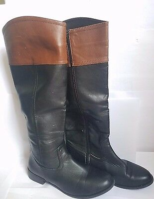 Toni Attention Black and Brown Riding Boots Size US Women's 8M