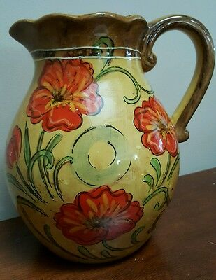 """Tuscan Style """"Poppy"""" Pitcher Floral Theme Rustic French Country 9"""""""