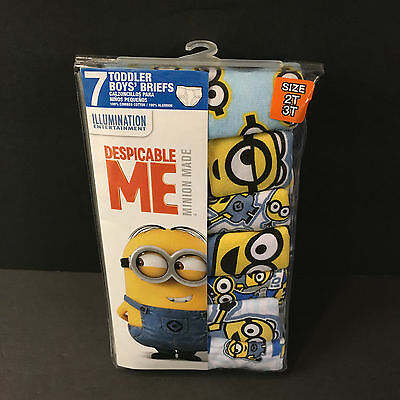 Despicable Me Underwear Boys' 2T/3T Toddler Briefs Minion Made Handcraft 7 Pack