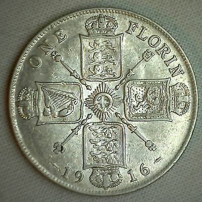 1916 Silver British Florin 2 Schilling UK Great Britain English Coin XF
