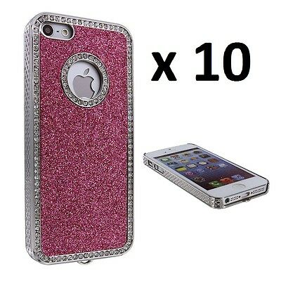 Hot Pink Glitter Back Cover Case with Bling for iPhone 5 / 5S / SE - LOT OF 10