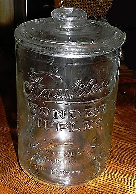 Antique FAULTLESS WONDER NIPPLES Clear Glass Apothecary Advertising Jar & Lid