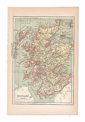 Antique color map of Scotland from the 1875 American Cyclopædia