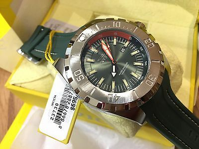 23738 Invicta Pro Diver 52mm Men's Quartz Green Dial Polyurethane Strap Watch