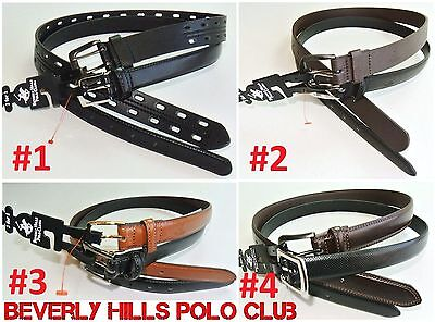 Beverly Hills Polo Club Boys Kids Black Brown Leather Belts 2 Pack M L New w Tag
