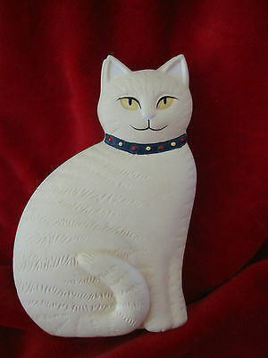 Vintage Cream White Cat with Black Collar Trinket Box By Crowning Touch Japan