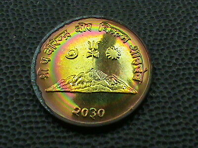 NEPAL    10  Paisa    1973    PROOF  ,   RAINBOW  TONED