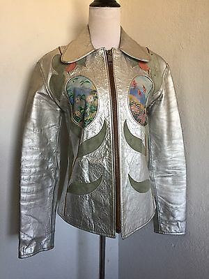 Rare Vintage East West Musical Instruments Co. Metallic Janti Leather Jacket S