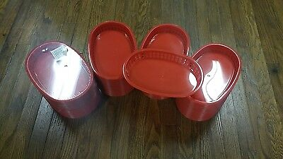 "LOT OF 101!!! Large 10-3/4"" Plastic Fast Food Basket Baskets Tray RED PLBK1034R"