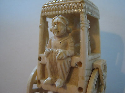 19th Century Carving Carriage Driver and Passenger with Horse and Carriage cart