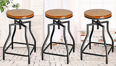 eHemco 24-29'' Adj Metal Bar/Counter Stools w/Wood Veneer Seat -Set of 3