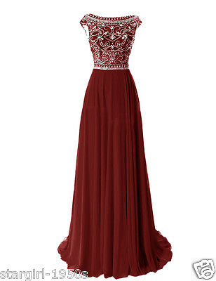Burgundy Long Chiffon Bridesmaid Evening Formal Party Ball Gown Prom Dress US 4+