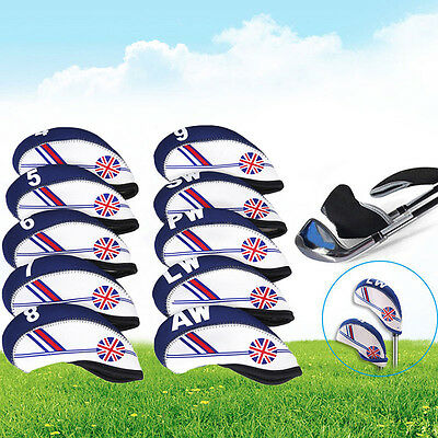 10xNeoprene UK Flag Golf Club Headcover Head Cover Iron Protect Set