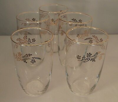 """5 Vintage Federal Glass Meadow Gold 5"""" Water Tumblers"""