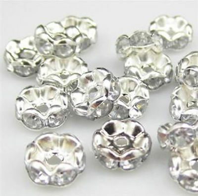 100Pcs 8mm Clear Silver Plated Czech Crystal Spacer Rondelle Beads
