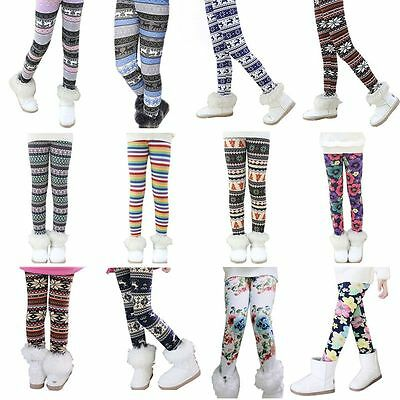 Toddler Kids Girls Baby Winter Warm Thick Fleece Pants Stretch Leggings Trousers