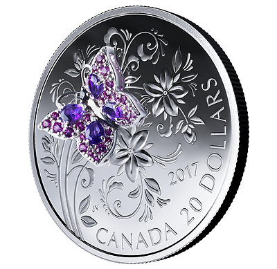 2017 1 oz. .9999 Fine Pure Silver Coloured Coin - Bejeweled Bugs: Butterfly $20