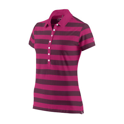NEW Nike Ladies Rugby Stripe Polo - Fireberry [Size: Small]