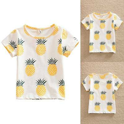 Kid Baby Girls Summer Casual Pineapple Print Short Sleeve T-shirt Tops Blouse AU