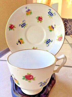 Vintage Crown Staffordshire Bone China Rose Pansy Blue Flowers Cup & Saucer, UK