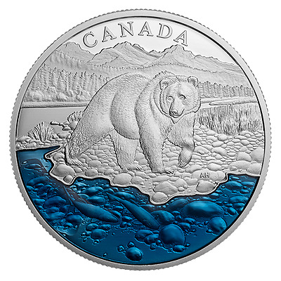 2017 Canada COIN #4 - 99.99% Pure Silver Grizzly Bear with Blue Enamel $20