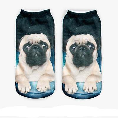 Fashion Style Pug Dog Sock 3D Printed Unisex Cute Low Cut Ankle Women Socks Hot