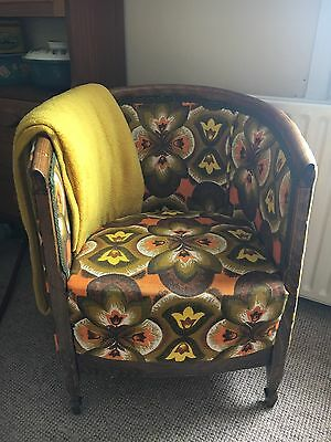 Antique Vintage Tub Chair 1920/30s Recovered In Retro 1960s Barkcloth