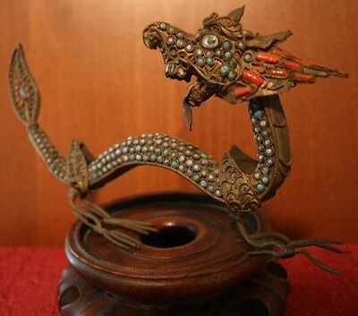 Rare Antique Tibetan or Chinese Coral Turquoise Inlaid Dragon