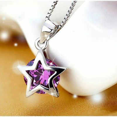 Silver Plated Zircon Necklace Charm New Elegent Star Pendant Jewelry Crystal