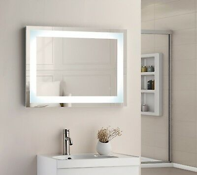 800 x 600mm Square LED Illuminated Touch Bathroom Mirror Demister IP44