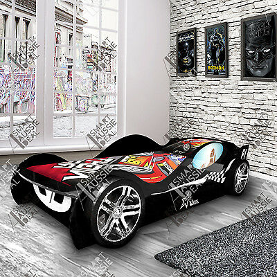New Black Kids Children Night Sports Racing Car Bed Beds Bedroom For Boy Boys
