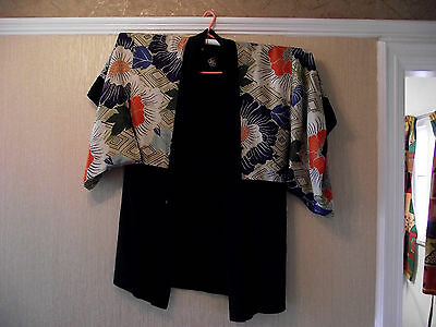 Vintage Japanese Kimono in quality silk, 1920's,  stunning colours, with Mon.