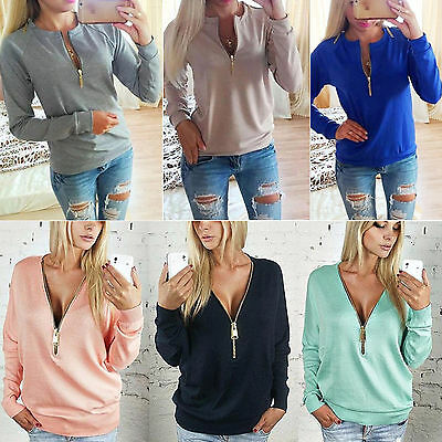 Womens Zipper V Neck Sweatshirt Casual Tops Pullover Long Sleeve Jumper Sweater