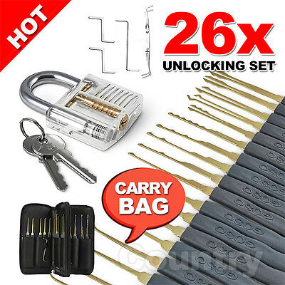26pcs Transparent Lock Locksmith With Practice Padlocks Unlocking Tools Pick Set