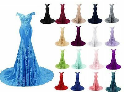 Hot Mermaid Prom Dress Bridesmaid Lace Formal Evening Party Gown Stock Size 6-22