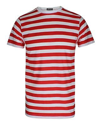 Mens Red and White Stripped T Shirt Fancy Dress Short Sleeve Top Tees Book Week