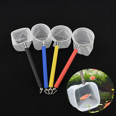 Fish Tank Aquarium Mini Adjustable Telescoping Fishes Shrimps Landing Net Scoop