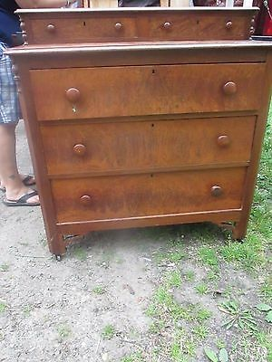Antique Empire Chest- Flamed  Mahogany Dresser Tall Chest of Drawers